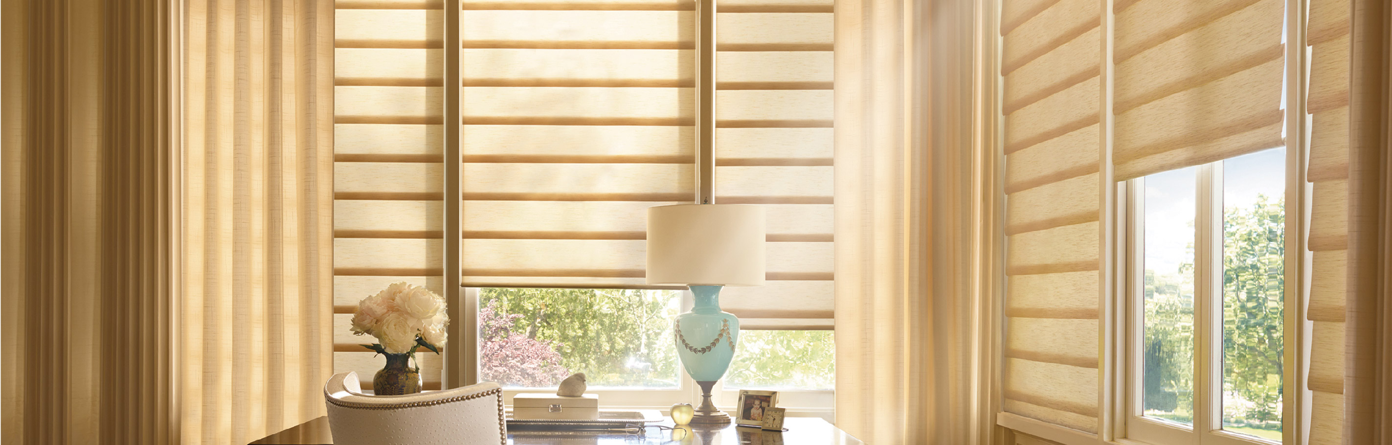 Luxaflex - Products - Softshades and Fabrics - Modern Roman Shades Bottom