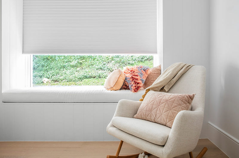 Luxaflex Duette shades are perfect for bedrooms where both privacy and light control are paramount. Controlling light as well as helping to create a more consistent temperature.