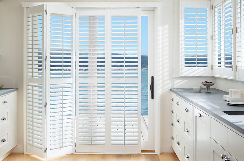 Luxaflex PolySatin Shutters with BiFold Track