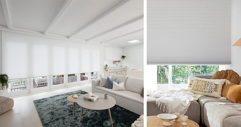Luxaflex Duette Shades in Living areas block out heat entering in summer and trap warmth inside in winter