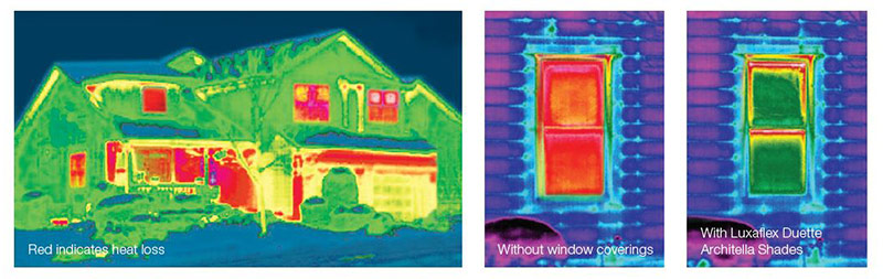 Heat vision comparison of window with and without Luxaflex Duette Architella Shades