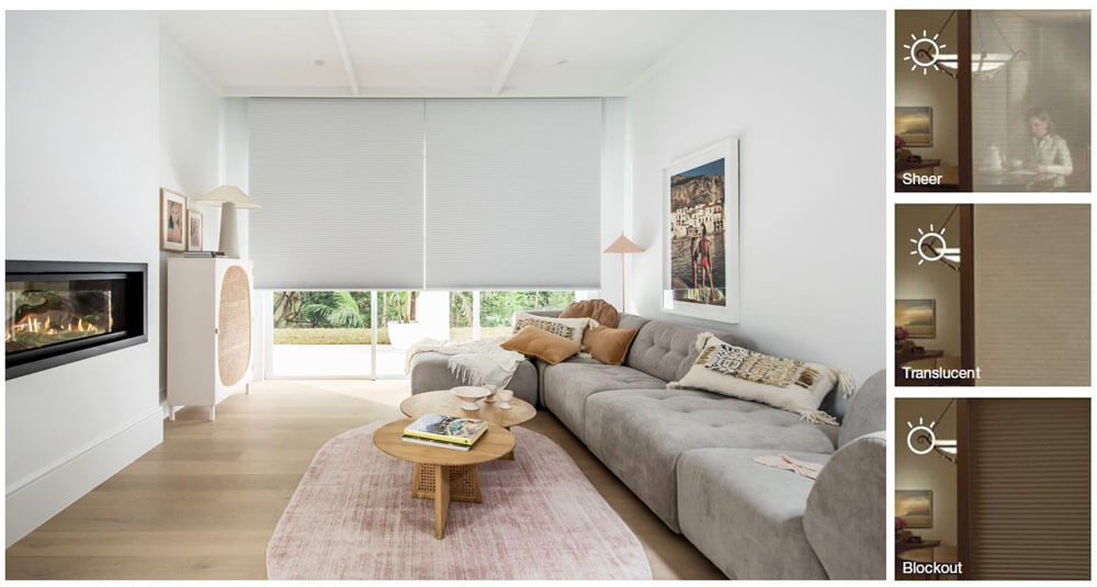 Duette Shades feature an extensive fabric range and solutions to achieve different levels of light control