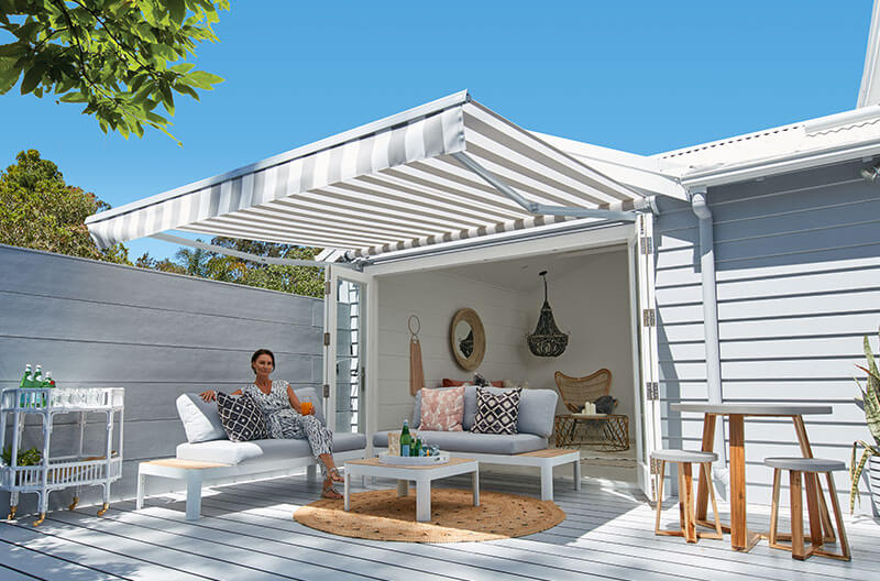 Luxaflex Folding Arm Awning over outdoor entertaining area