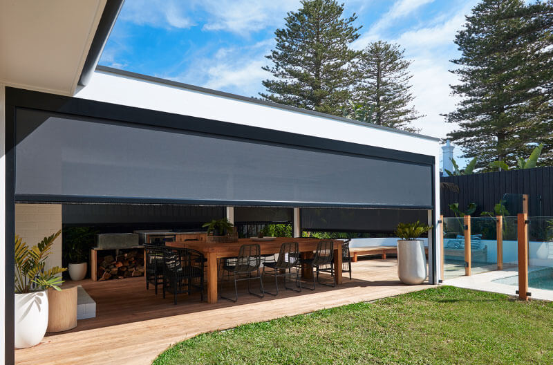 Luxaflex Evo MagnaTrack Awning surrounding outfoor entertaining area.