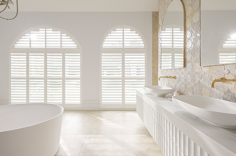 Luxaflex PolySatin Shutters are the perfect addition to a Bathroom providing privacy as well as being impervious to moisture when a non-motorised version is used.