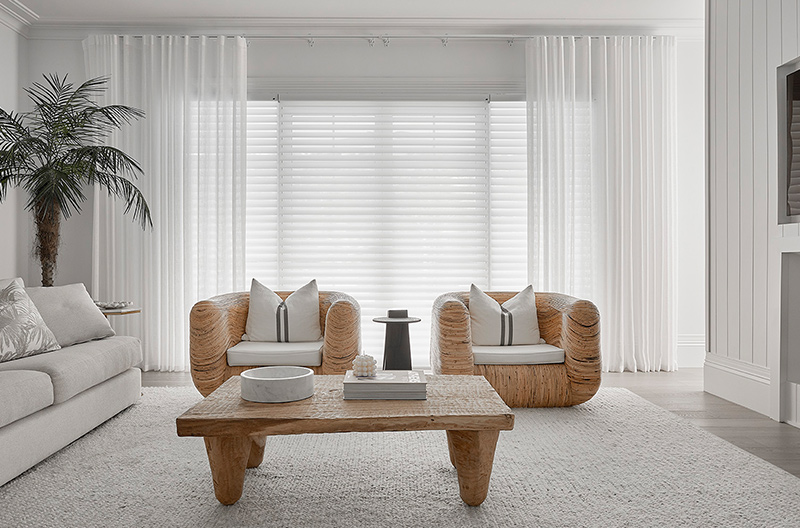 Luxaflex Silhouette Shadings paired with Luxaflex Curtains