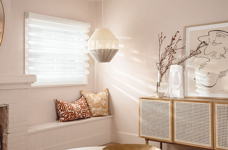 Luxaflex Pirouette Shadings pairing with the room decor prividing optimal control of light.